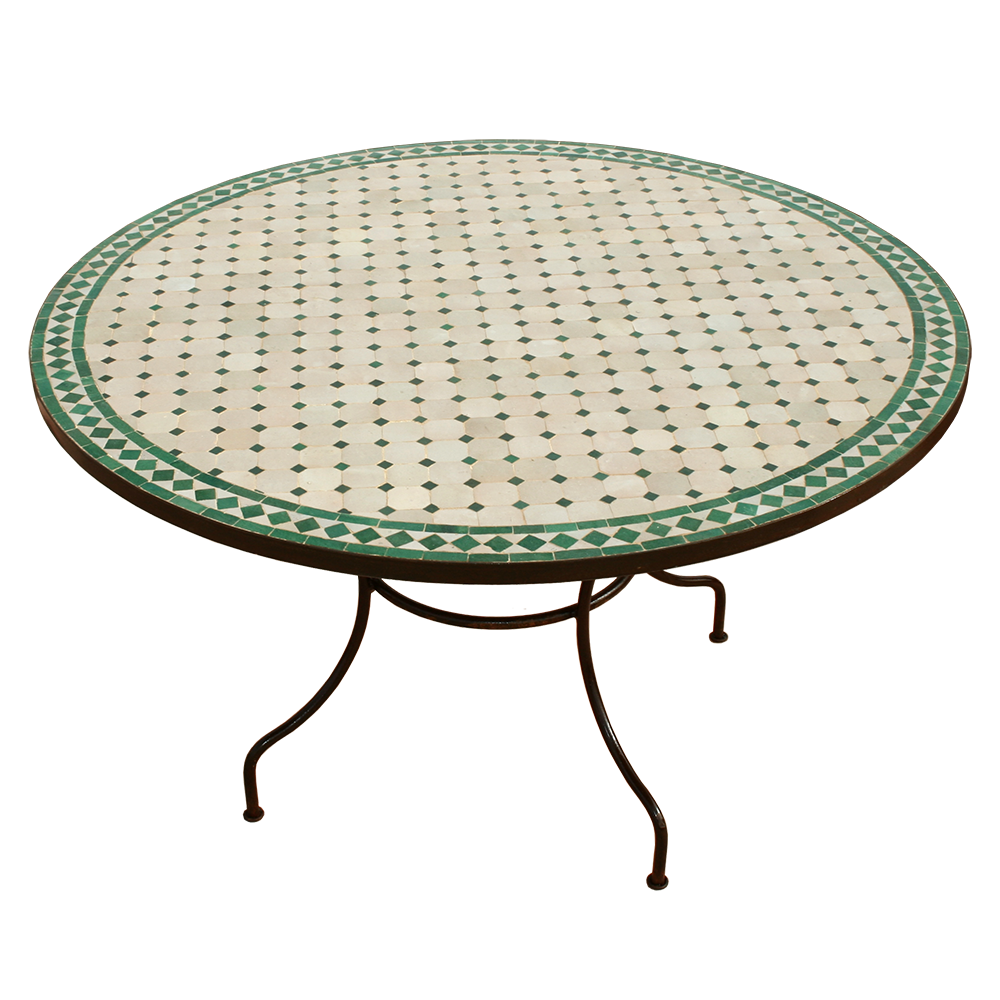Table mosaique zellige fer forge salon canape banquette meridienne ...