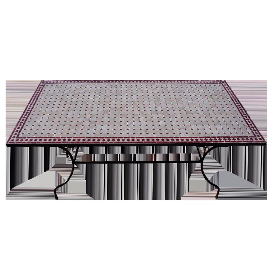 Table mosaique zellige marocaine rectangle pied fer forgé