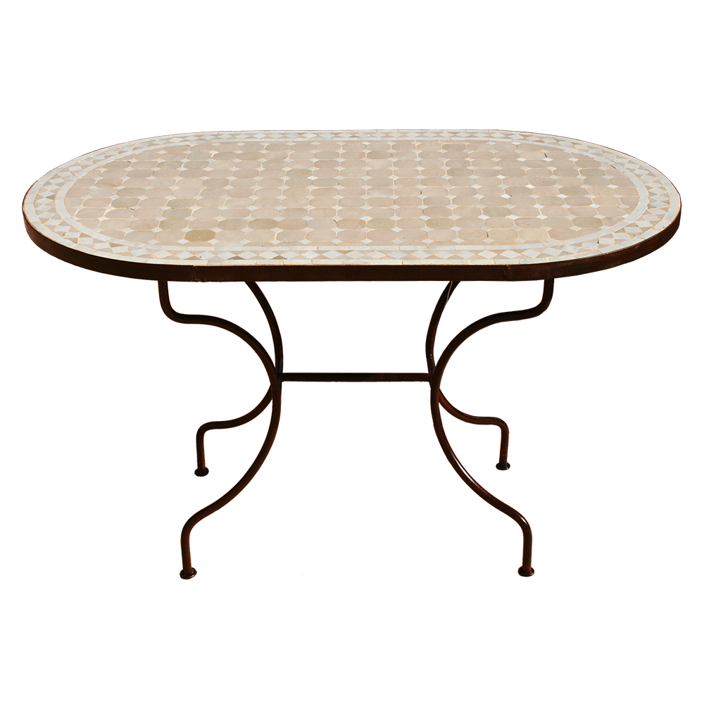 Table mosaique zellige marocain ovale pied fer forgé