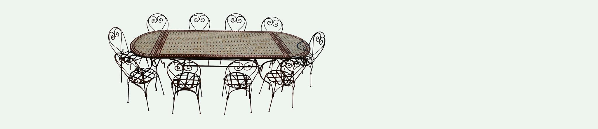 table en zellige ovale et 10 chaises fer forgé, ensemble table et chaises en promotion